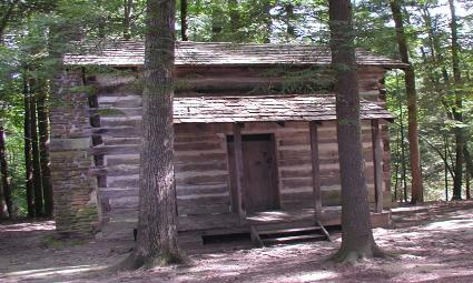 Rustic split log cabin in the Breaks Interstate Park.